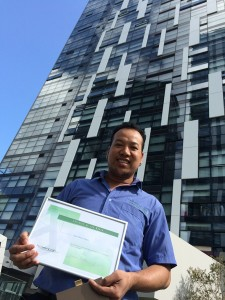 Sujan with his Westfield shopping voucher at Metro Chatswood