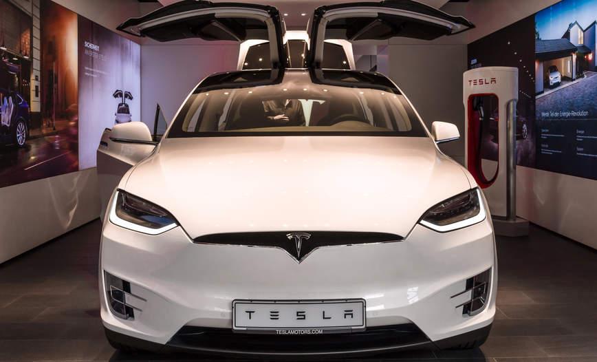 Tesla white EV