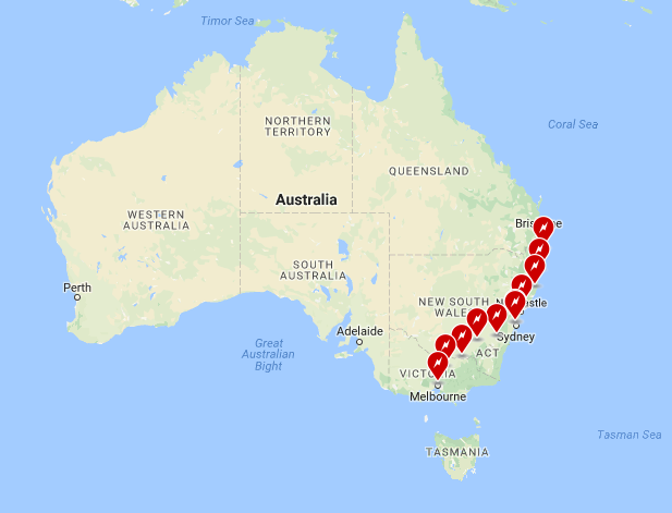 Location map of Tesla Supercharge stations