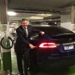 Hon Craig Laundy at Stockland Cammeray Tesla Motors destination charger launch