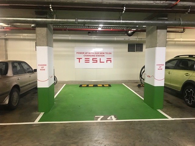 Stockland Cammeray Tesla Motors destination charger launch